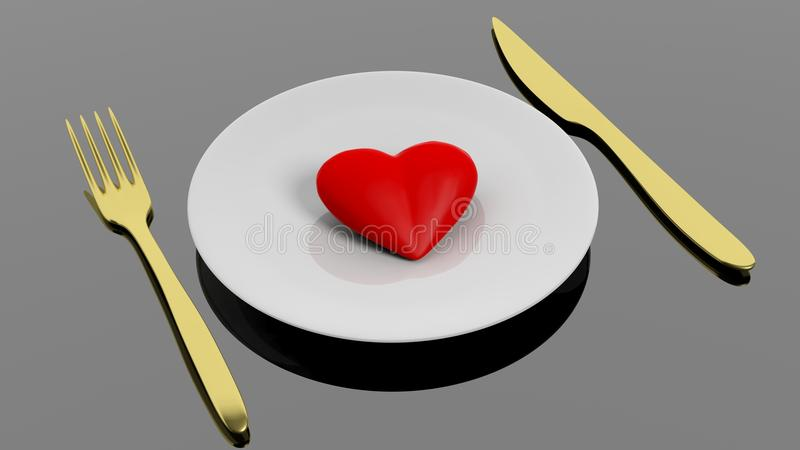 Serce na talerzu z złotym rozwidleniem i nożem ilustracji