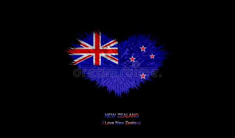 Serce Nowa Zelandia flaga royalty ilustracja