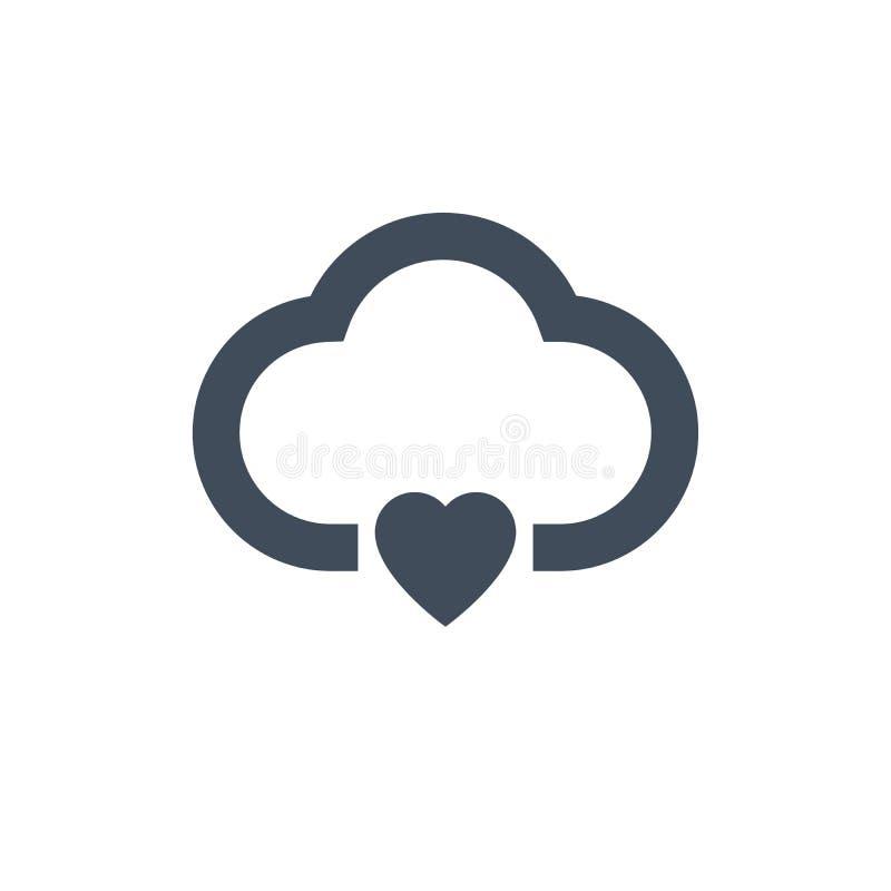serce obłoczna ikona, ve ctor ilustracja odizolowywająca na czystym tle ilustracja wektor