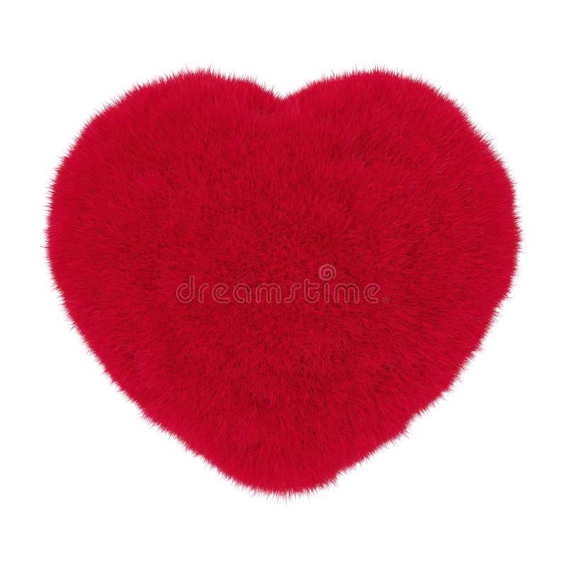 Serce od czerwonego futerka świadczenia 3 d ilustracji