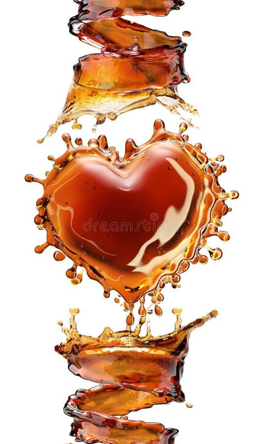 Serce od koli pluśnięcia z bąblami odizolowywającymi na bielu zdjęcia royalty free