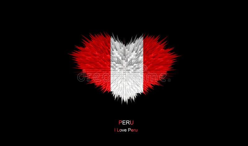 Serce Peru flaga ilustracja wektor