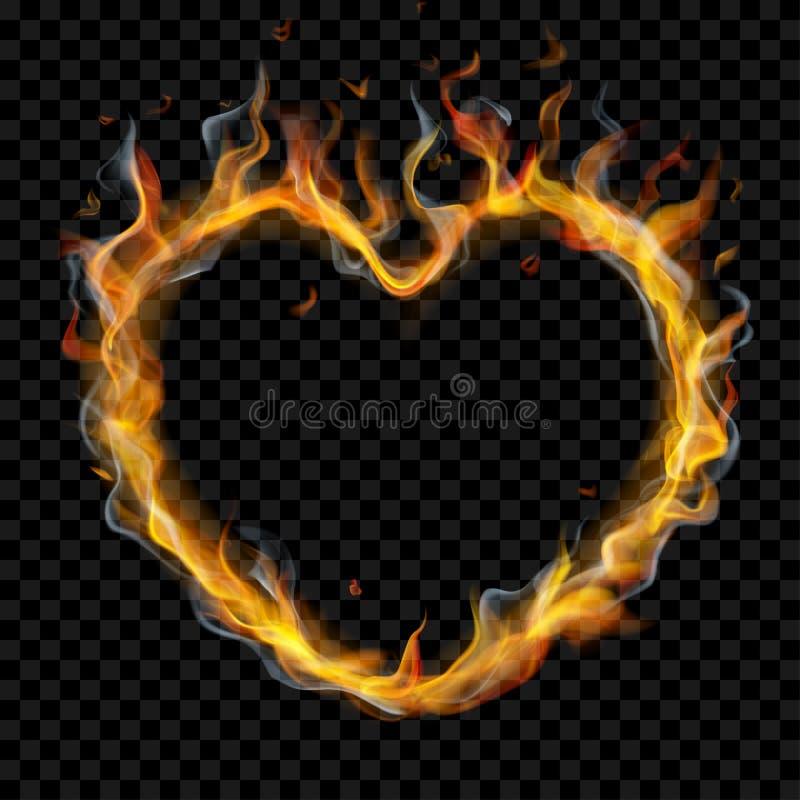 Serce pożarniczy płomień z dymem ilustracja wektor