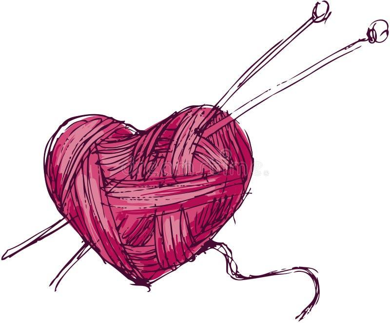 Serce przędza ilustracja wektor