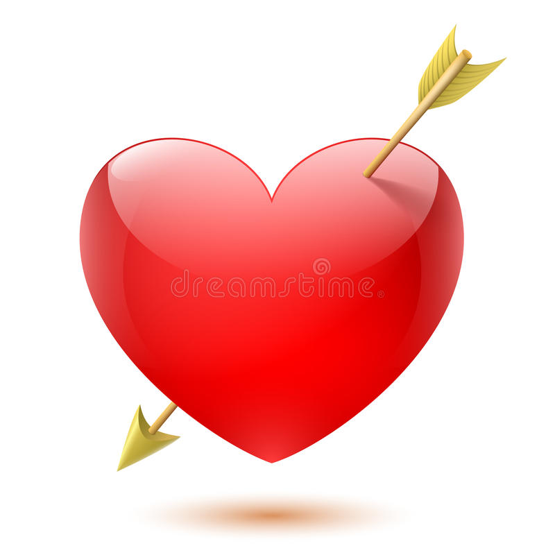 Serce przebijający strzała ilustracja wektor