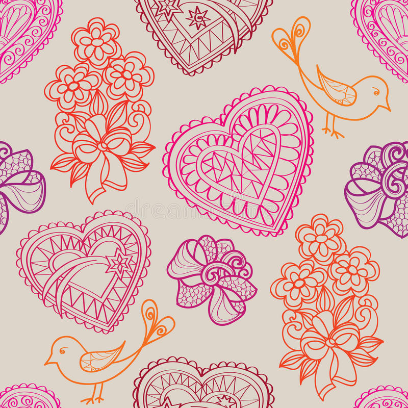 Serce ptaków i kwiatów bezszwowy tło. Miłości retro tekstura. royalty ilustracja