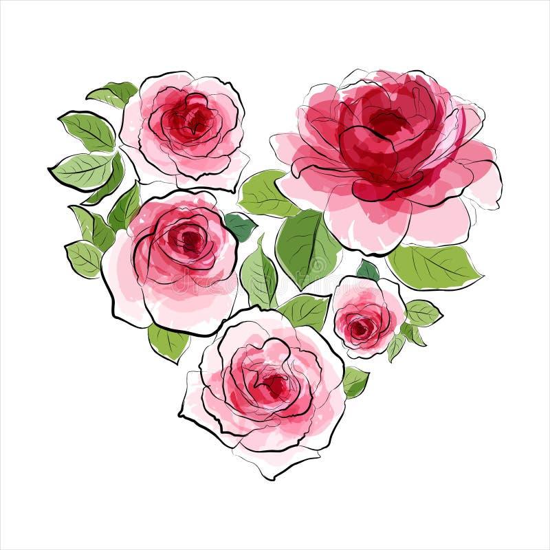 Serce różowe róże. Akwarela ilustracji