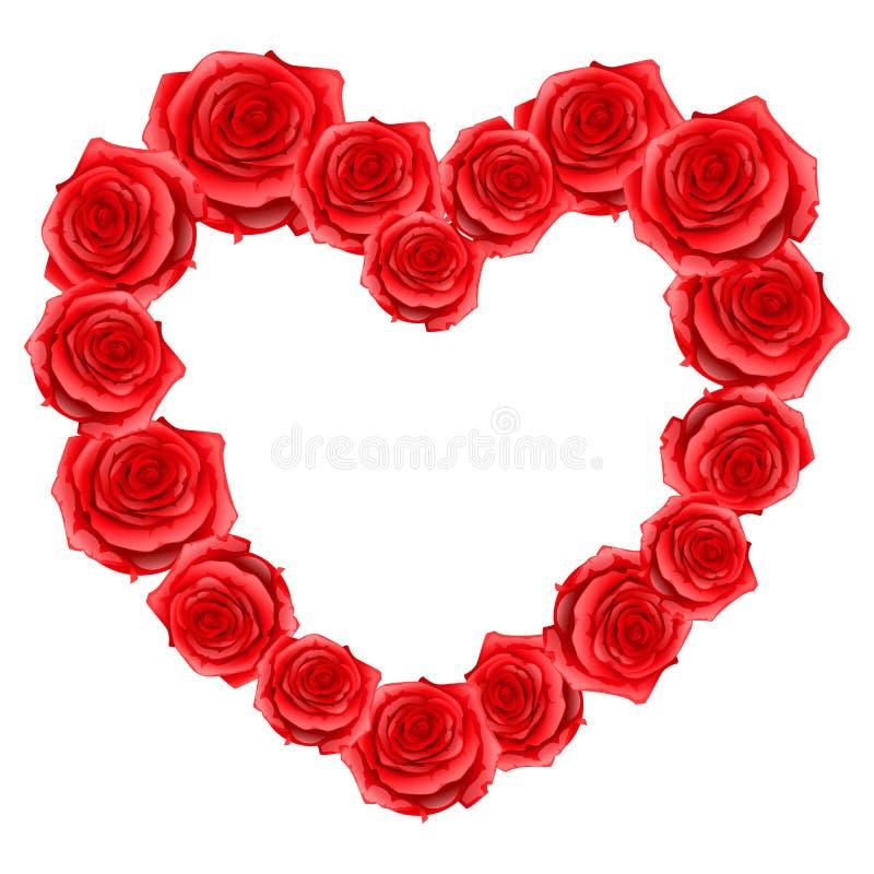 Serce rama czerwone realistyczne róże Szczęśliwa walentynki karta ilustracja wektor