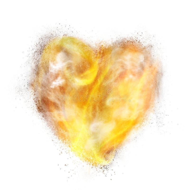 Serce robić prochowy wybuch, ogień i dym, zdjęcia stock