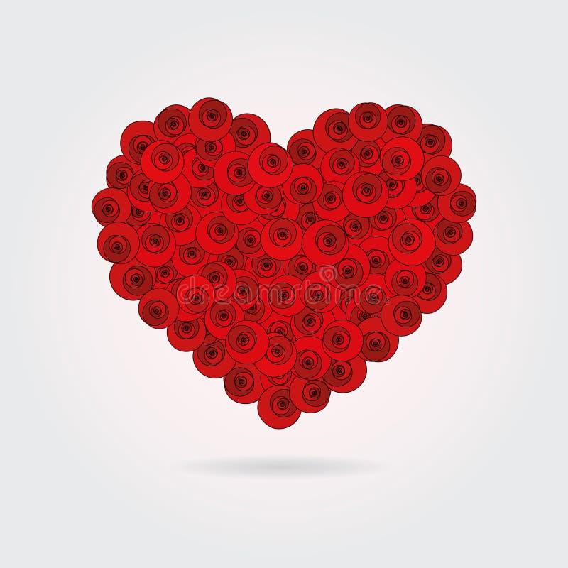 Serce robić stylizowane czerwone róże ilustracji