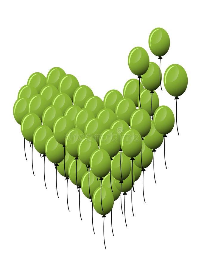 serce się Zieleń balony Balon również zwrócić corel ilustracji wektora ilustracja wektor