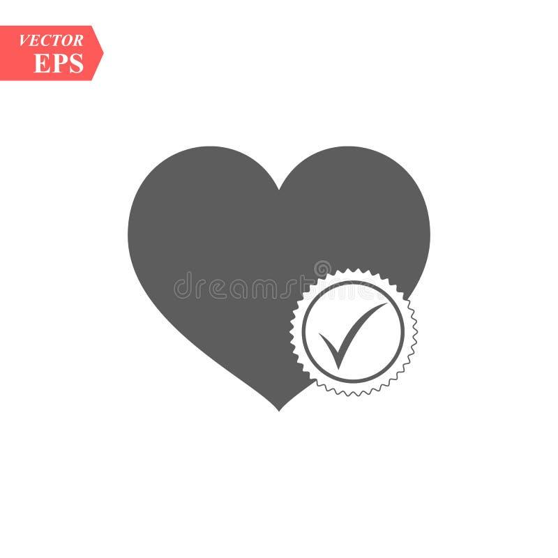 Serce sieci szyldowa ikona z czek oceny symbolem Wektorowy ilustracyjny projekta element eps10 ilustracja wektor