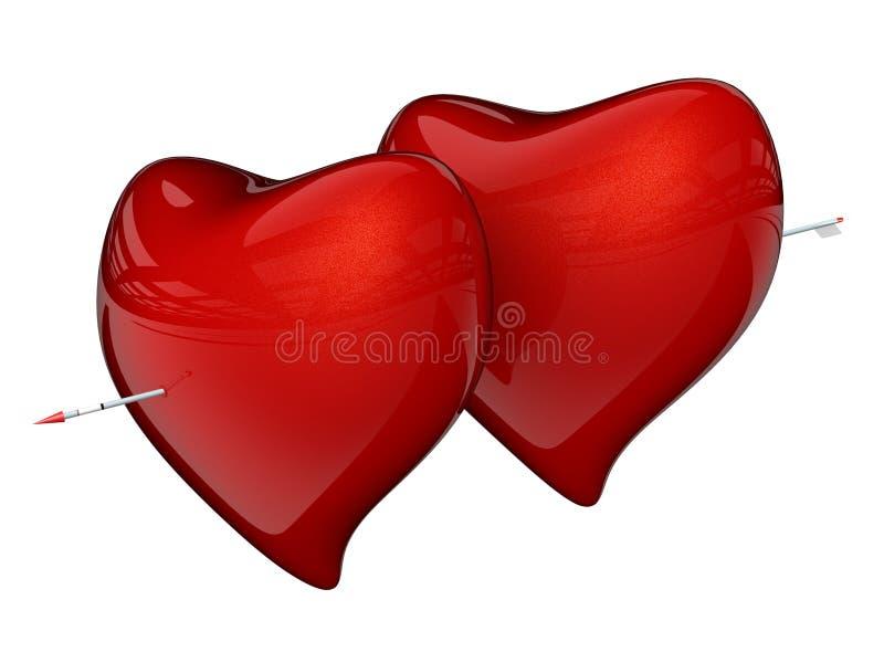 serce strzałkowata czerwony 2 ilustracja wektor