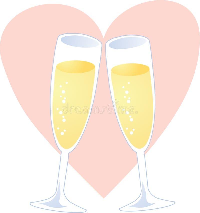 serce szampania ilustracji