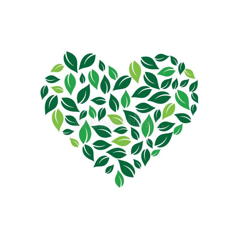 Serce tworzący liśćmi Wektorowy loga projekt royalty ilustracja