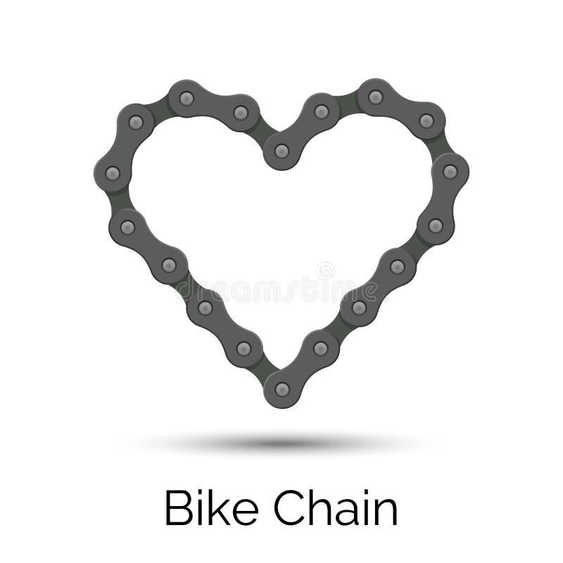 Serce tworzący od rowerowego łańcuchu Roweru łańcuszkowy kierowy kształt ilustracja wektor