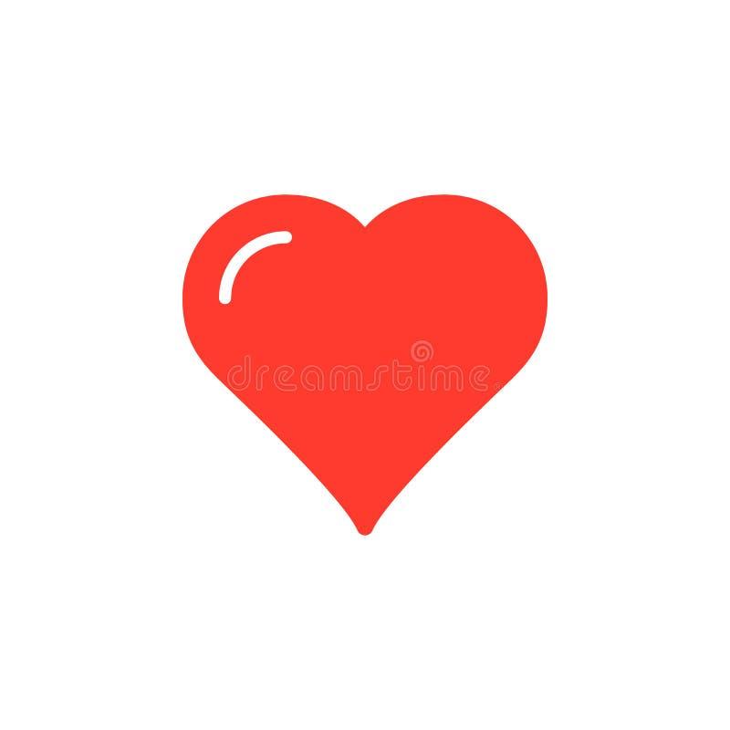 Serce, ulubiony ikona wektor, wypełniający mieszkanie znak, stały kolorowy piktogram odizolowywający na bielu ilustracja wektor