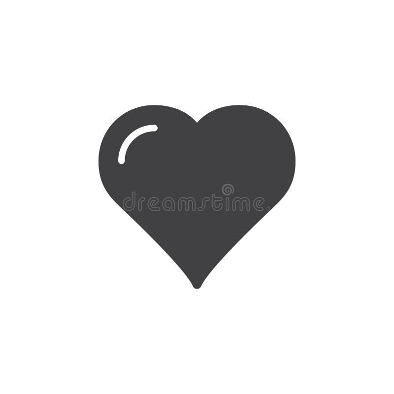 Serce, ulubiony ikona wektor, wypełniający mieszkanie znak, stały piktogram odizolowywający na bielu royalty ilustracja