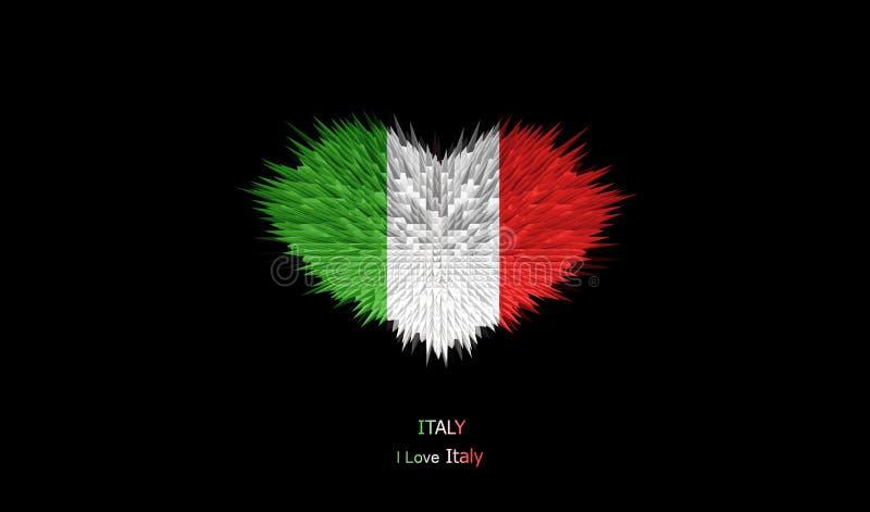 Serce Włochy flaga royalty ilustracja