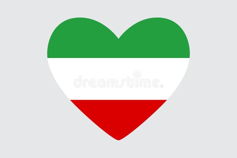 Serce w kolorach Iran flaga, royalty ilustracja