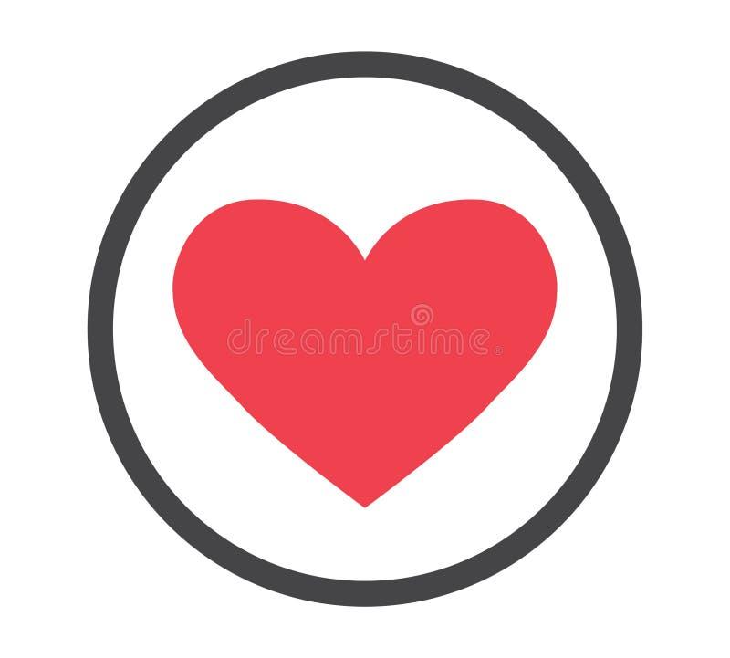 Serce w okrąg ikonie ilustracja wektor