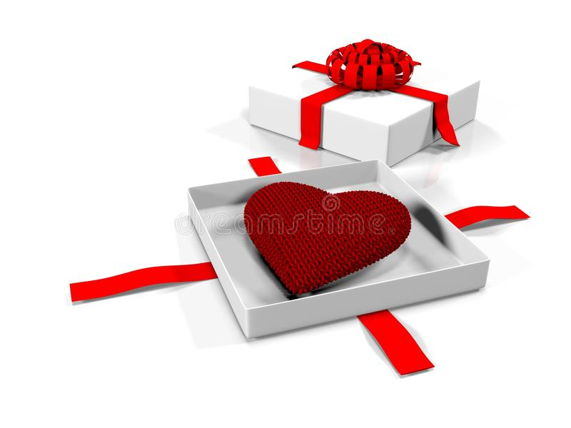 Serce w prezenta pudełku, odosobnionym na białym tle, 3d odpłaca się ilustracji