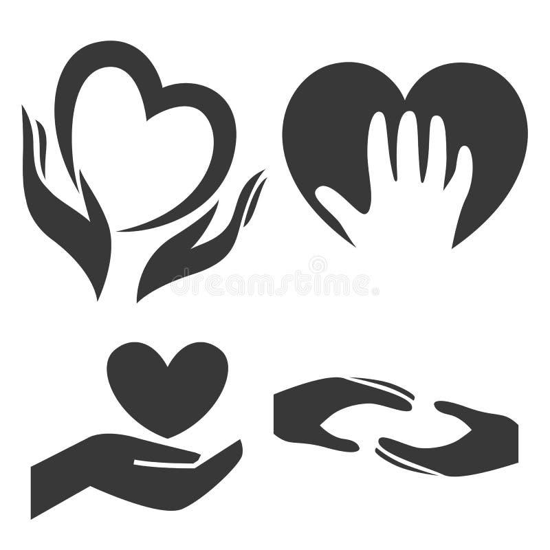 Serce w ręka symbolu, znak, ikona, loga szablon dla dobroczynności, zdrowie, dobrowolny zysk organizacja, non royalty ilustracja