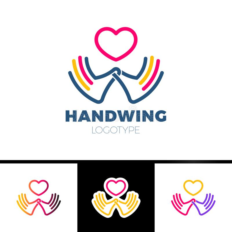 Serce w ręka symbolu, znak, ikona, loga szablon dla dobroczynności, zdrowie, dobrowolny zysk organizacja, non, odizolowywająca na royalty ilustracja