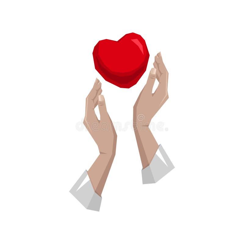Serce w ręka symbolu, znak, ikona, logo szablon dla dobroczynności, zdrowie, dobrowolny ilustracja wektor
