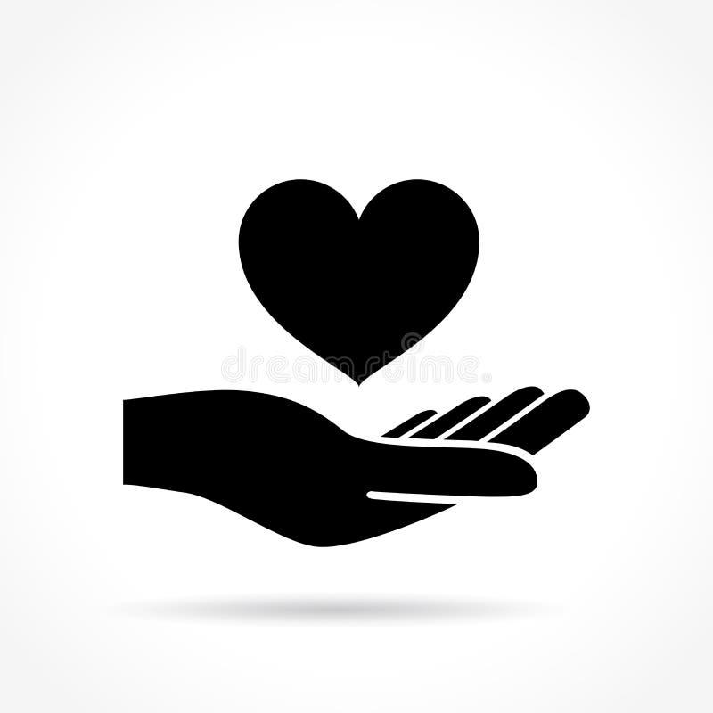 Serce w ręki ikonie royalty ilustracja