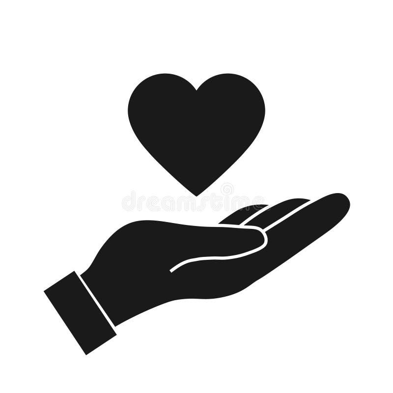 Serce w ręki ikonie ilustracji