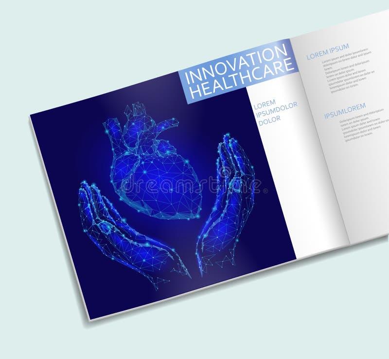 Serce w ręki opieki zdrowotnej broszurki niskim poli- szablonie Poligonalny punkt linii trójboka projekt Zdrowie ludzkie medycyny royalty ilustracja