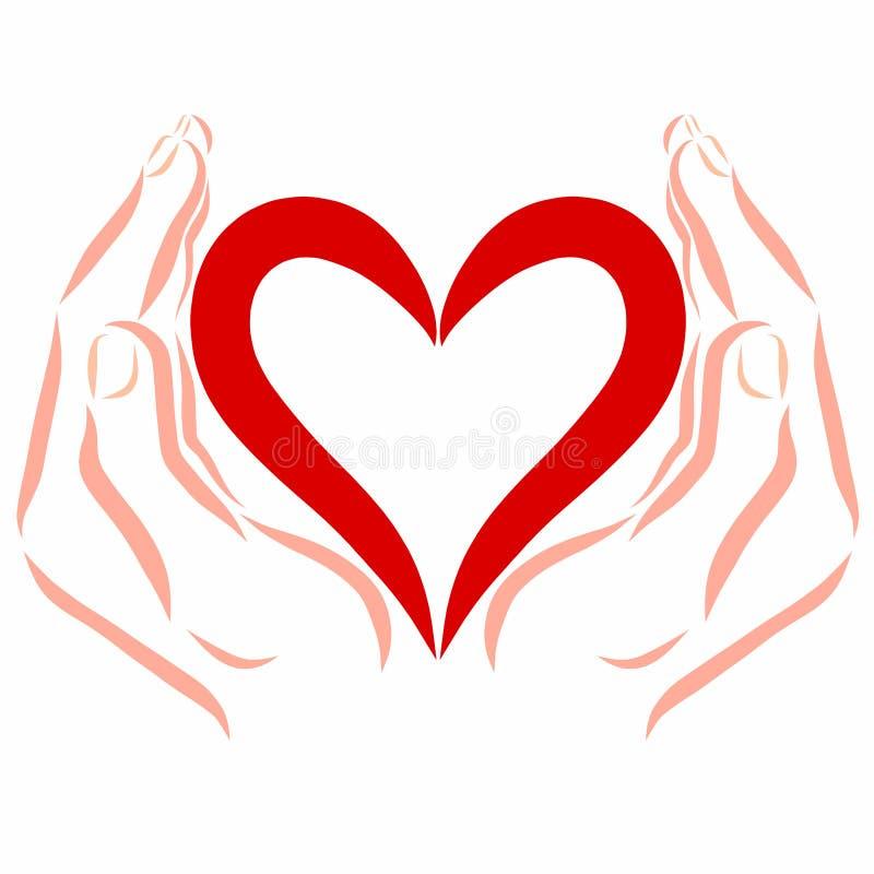 Serce w skrytek rękach, wzór ilustracji