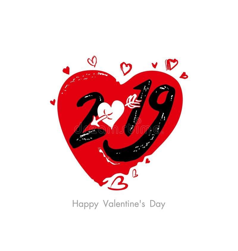 Serce 2019 Walentynka dnia 2019 i 2019 grafika nowożytnego wakacyjnego symbolu wielcy czerwoni serca, serce przebijający amorek s ilustracji
