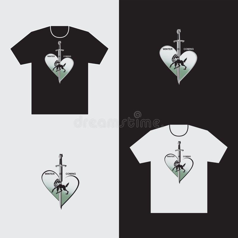 Serce wilk i kordzik na koszulce ilustracji