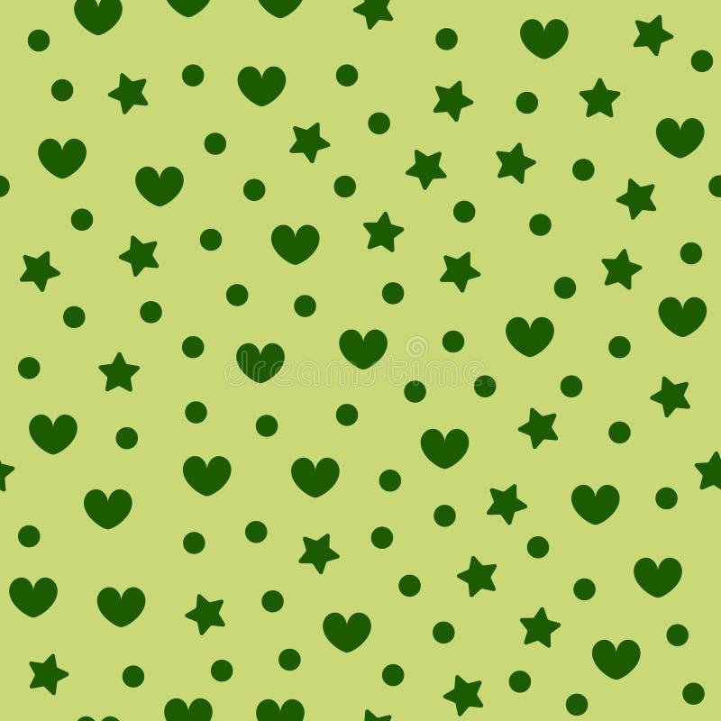 Serce wz?r z gwiazdami i kropkami t?o bezszwowy wektora ilustracji