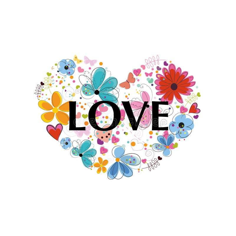 Serce z «miłości «tekstem Abstrakcjonistyczni kolorowi kwiaty, serca i motyle, ilustracja wektor