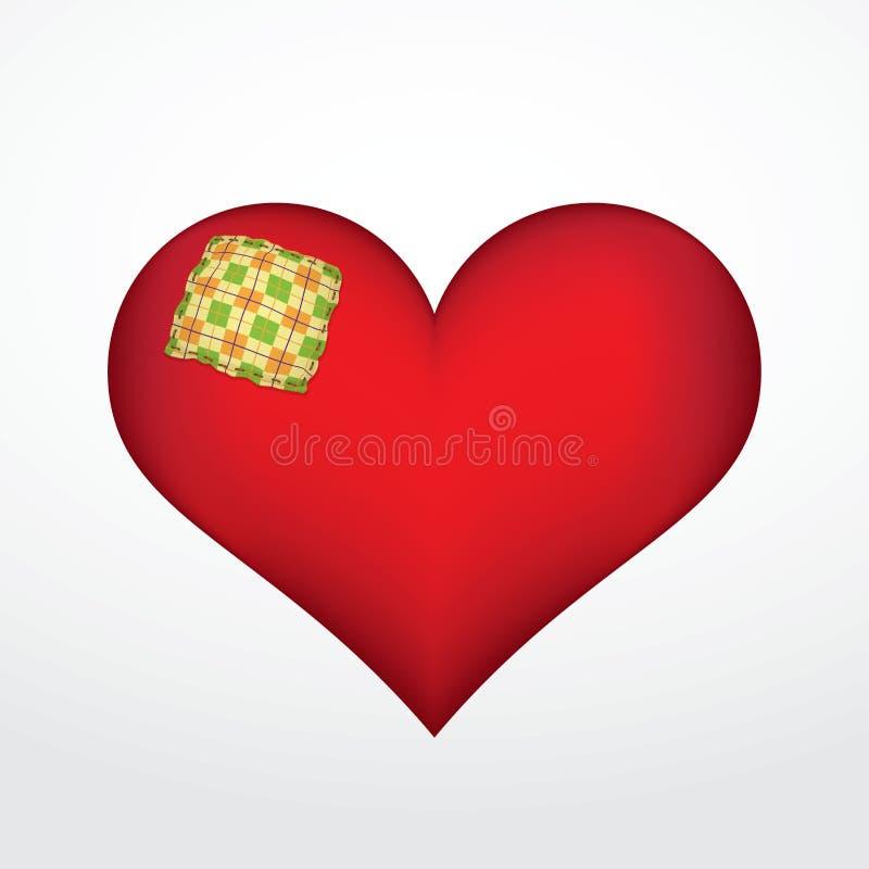 Serce z łatą ilustracja wektor