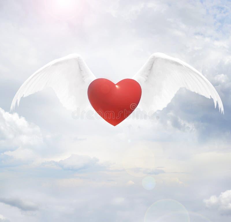 Serce z aniołów skrzydłami fotografia stock
