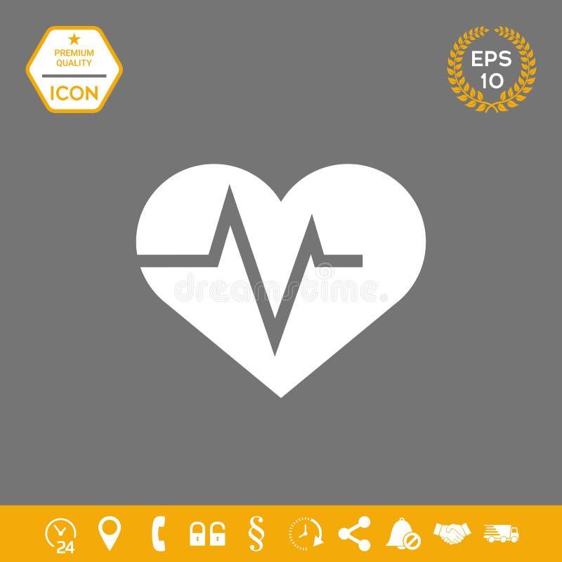 Serce z ECG fala - kardiograma symbol czarny zmiany ikony wątrobowy medyczny ochrony po prostu biel ilustracji