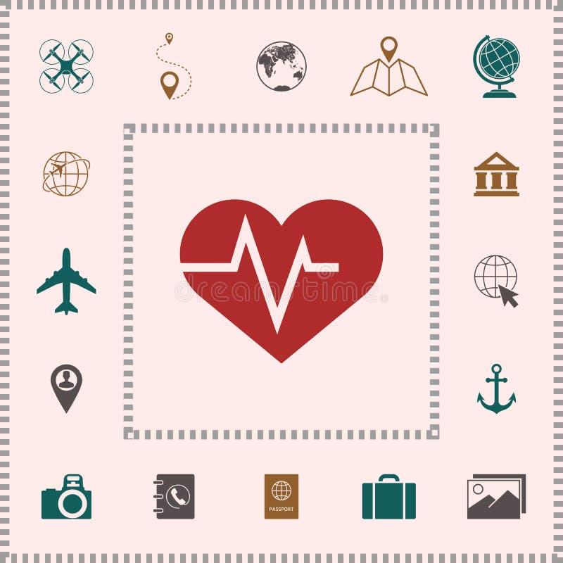 Serce z ECG fala - kardiograma symbol czarny zmiany ikony wątrobowy medyczny ochrony po prostu biel ilustracja wektor