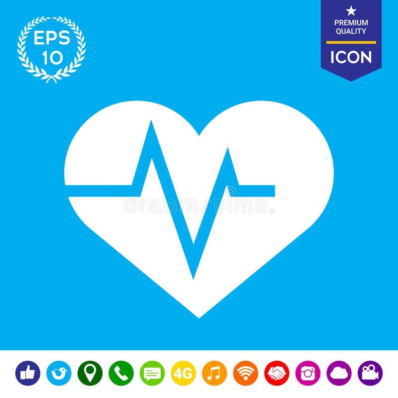 Serce z ECG fala - kardiograma symbol czarny zmiany ikony wątrobowy medyczny ochrony po prostu biel royalty ilustracja