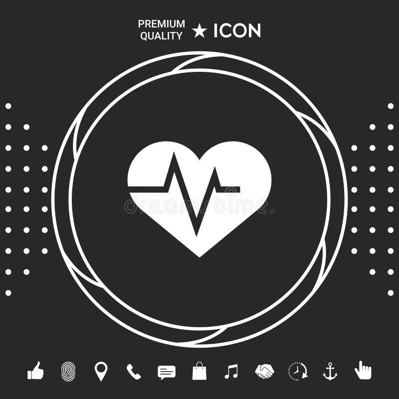 Serce z ECG fala - kardiograma symbol czarny zmiany ikony wątrobowy medyczny ochrony po prostu biel Graficzni elementy dla twój d ilustracja wektor