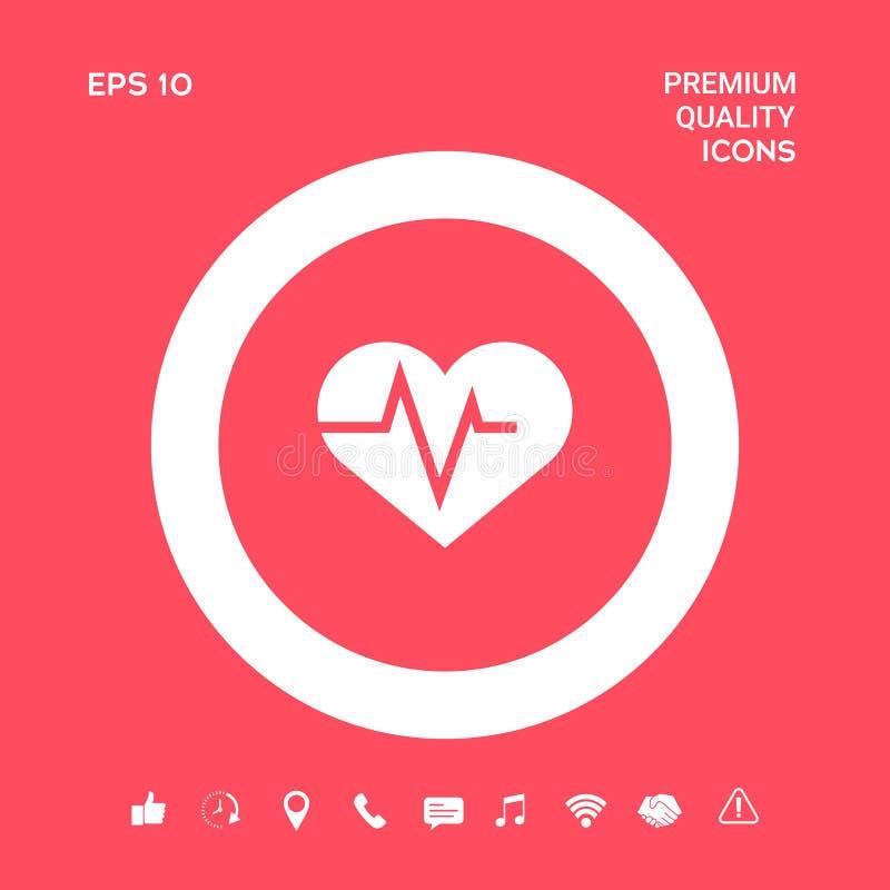 Serce z ECG fala - kardiograma symbol czarny zmiany ikony wątrobowy medyczny ochrony po prostu biel Graficzni elementy dla twój p royalty ilustracja