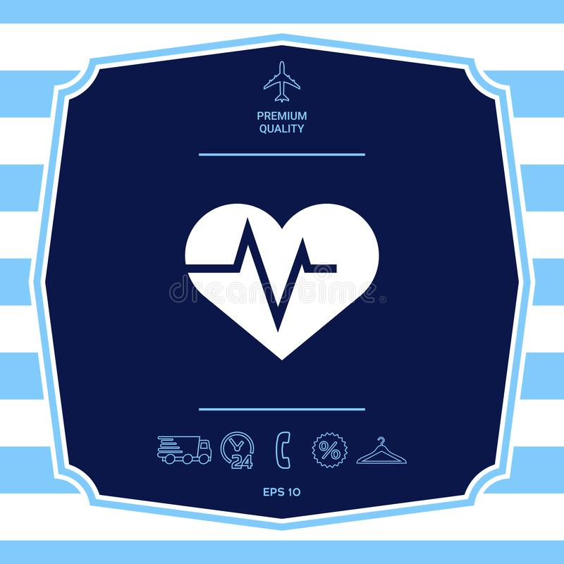 Serce z ECG fala - kardiograma symbol czarny zmiany ikony w?trobowy medyczny ochrony po prostu biel Graficzni elementy dla tw?j p ilustracja wektor