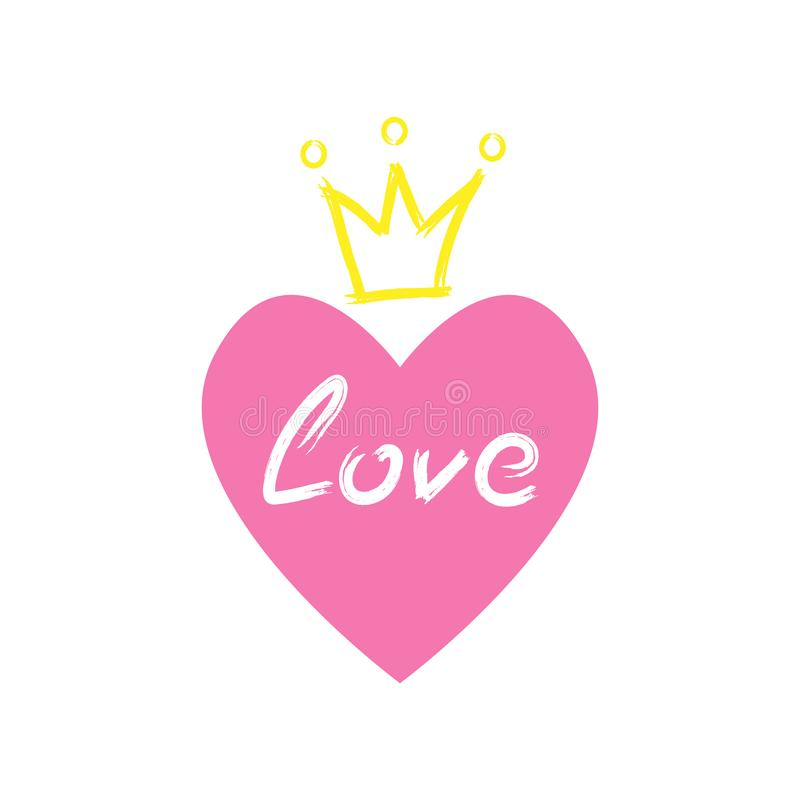 Serce z korony i miłości tekstem rysującym ręcznie z akwareli muśnięciem Nakre?lenie, grunge, farba ilustracji