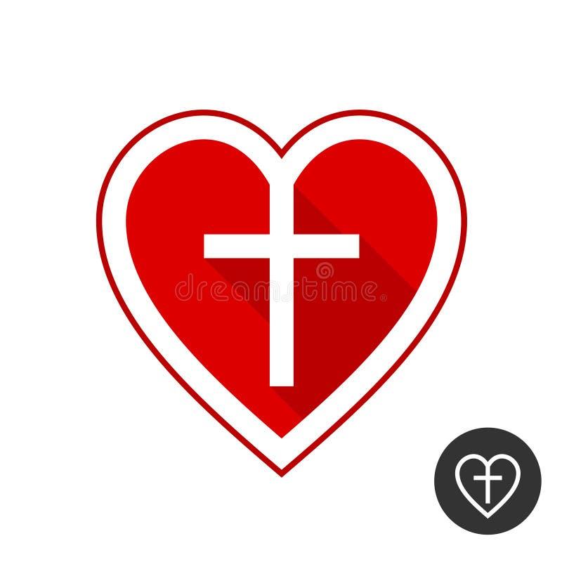 Serce z krzyżem Kościół Chrześcijańskiego symbol ilustracja wektor