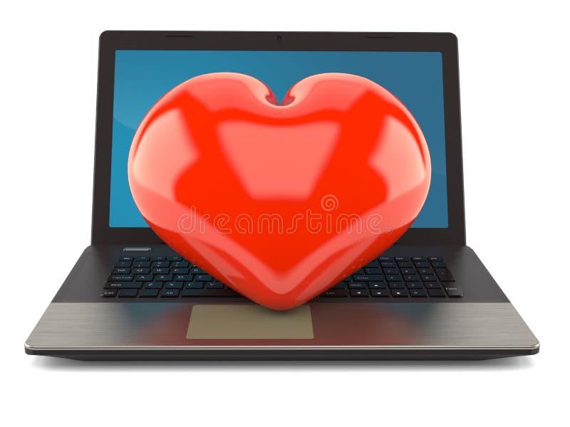 Serce z laptopem ilustracja wektor
