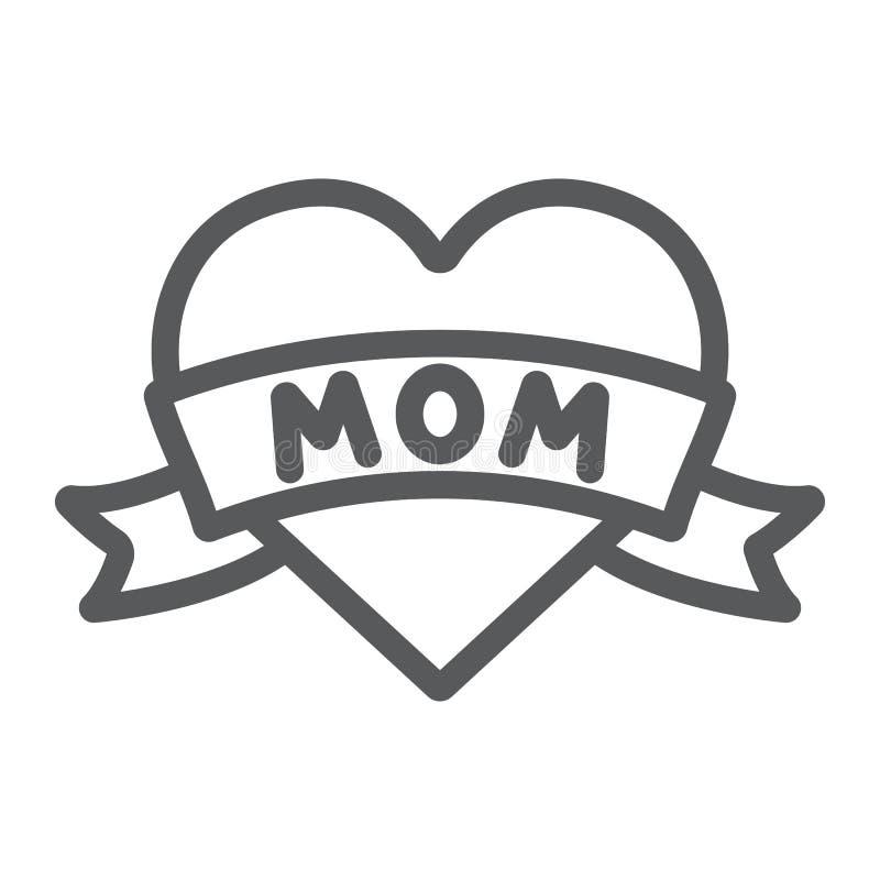 Serce z mamy inskrypcji linii ikoną, miłość i matka, miłości mamy tatuażu znak, wektorowe grafika, liniowy wzór na bielu royalty ilustracja