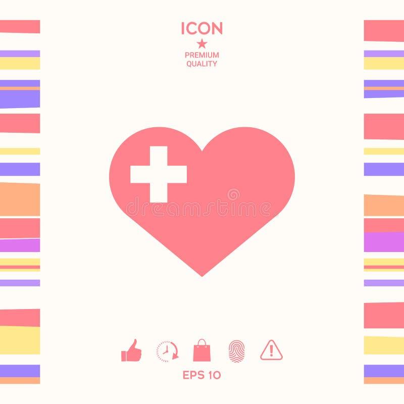 Serce z Medycznym krzyżem royalty ilustracja